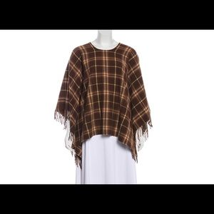 Burberry London Wool Fringed Poncho
